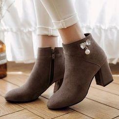 Sidewalk - 水钻粗跟及踝靴