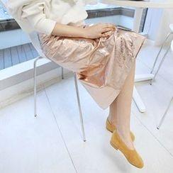MARSHMALLOW - Banded-Waist Slit-Back Midi Skirt