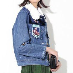 Ultra Modern - Crochet Collar Sequined Patch Denim Jacket