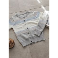 GOROKE - Pattern Multicolor Wool Blend Cardigan