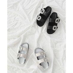 NIPONJJUYA - Rhinestone-Buckle Dual-Band Slide Sandals