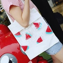 Youme - Fruit Print Transparent Panel Tote Bag