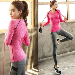 PUDDIN - 运动套装: 长袖T恤 + 瑜珈长裤