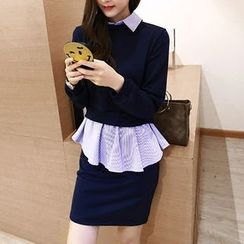 ANGELA - Long-Sleeve Mock Two Piece Dress