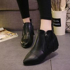Wello - Hidden Wedge Pointy Ankle Boots