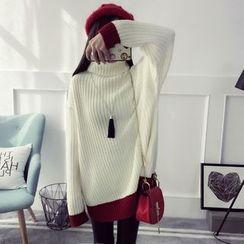 Qimi - 配色邊高領粗織毛衣