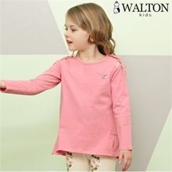WALTON kids - Girls Set: Beribboned T-Shirt + Flower Pattern Leggings