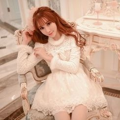 Candy Rain - Long-Sleeve Lace Panel Pleated Dress