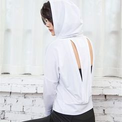 LUSHEY - Cutout Cropped Sport Long Sleeve Hooded Top