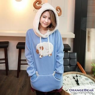 OrangeBear - Sheep Appliqué Ear-Accent Hooded Pullover