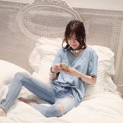 NANING9 - Cotton Plain T-Shirt
