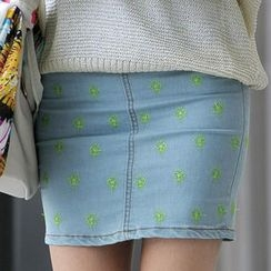 SO Central - Dandelion Embroidered Denim Skirt