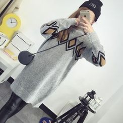 FR - Rhombus Patterned Long Sweater