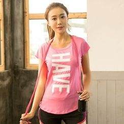 PUDDIN - Short-Sleeve Lettering Sport T-Shirt