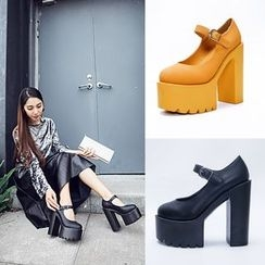 Anran - Chunky Heel Platform Mary Jane Pumps