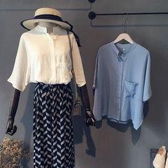 芷蓯夕 - 純色中袖襯衫