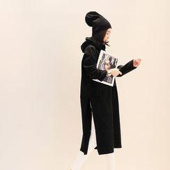 NANING9 - Hooded Slit-Side Pullover Dress