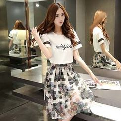 Romantica - Set: Short-Sleeve Lettering Top + Floral Skirt