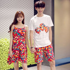 Proemio - T-Shirt / Printed Shorts / Sleeveless Dress
