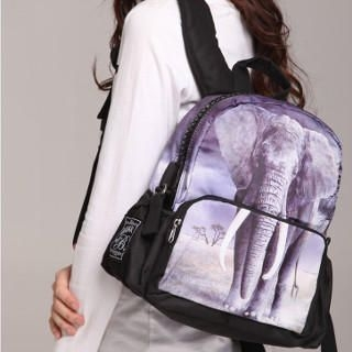 Bistar - Elephant Printing Large Zipper 12 inch Backpack