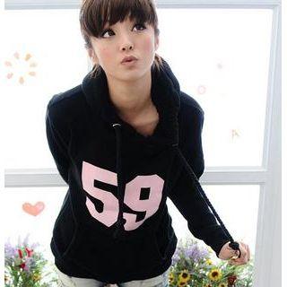 59 Seconds - '59' Print Fleece-Hood Pullover