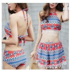 Jumei - Set: Tasseled Patterned Tankini + Swim Skirt