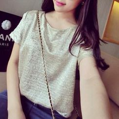 QZ Lady - Short-Sleeve Glitter Top