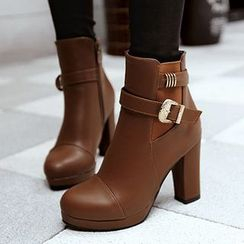 Gizmal Boots - Buckled Chunky Heel Ankle Boots