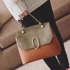 Shinian - Faux Leather  Color block Hand bag