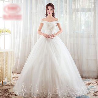 Amanecer - Off-shoulder Lace Panel Wedding Dress