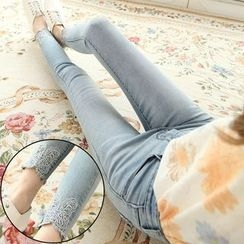 Nassyi - Butterfly Embroidered Washed Skinny Jeans