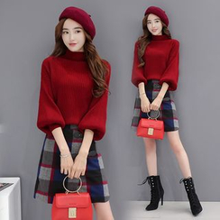 Romantica - Set: Mock-Neck Cropped Sweater + Check Buckled A-Line Skirt