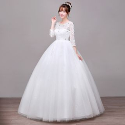 Galsnow - Maternity Wedding Lace 3/4-Sleeve Ball Gown