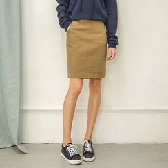 Seoul Fashion - Ctton Blend Elastic-Waist Skirt