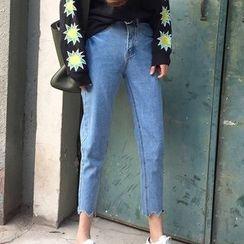 Miss Kekeli - Scallop Hem Cropped Jeans