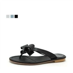 MODELSIS - Genuine Sheepskin Ribbon-Detail Flip-Flops