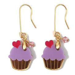 Sweet & Co. - Sweet&Co Mini Gold Purple Cupcake Crystal Earrings