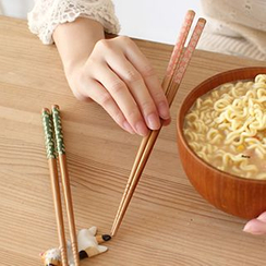 Lazy Corner - Set of 5 : Printed Wooden Chopsticks