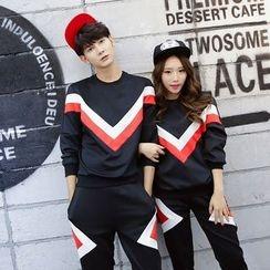 Bonne Nuit - Couple Matching Set: Color Panel Pullover + Pants