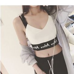 Oaksa - Lettering Strappy Cropped Camisole Top