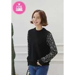 Lemite - Lace-Sleeve Sweatshirt