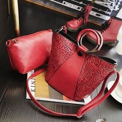 Nautilus Bags - Set: Faux Leather Hand Bag + Pouch