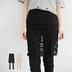 LULUS - Inset Lace Midi Skirt Leggings