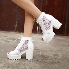 Pretty in Boots - Lace Platform Chunky Heel Short Boots