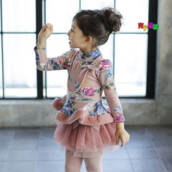 Cuckoo - Kids Floral Print Stand-collar Fleece-lined Dress