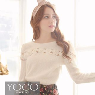 Tokyo Fashion - Long-Sleeved Beaded Floral Mesh Panel Top