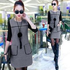 ESODO - 拼接長袖針織連衣裙