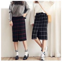 Sienne - Plaid Midi Skirt