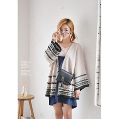 GOROKE - Open-Front Patterned Long Cardigan