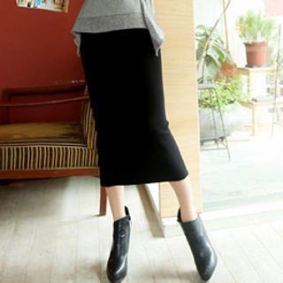 Tokyo Fashion - Slit-Back Ribbed Long Skirt